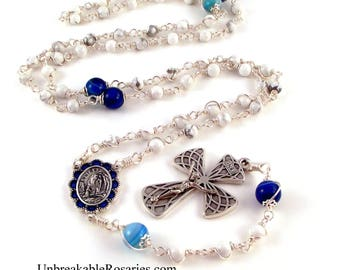 Lourdes Rosary Beads Wire Wrapped White Magnesite and Striped Blue Agate by Unbreakable Rosaries