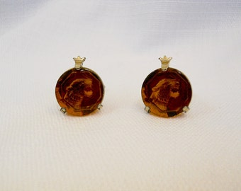 Vintage 1960s 60s Panther Swank Cuff Links Amber Glass Reverse Intaglio Carved Cuff Links Amber Yellow Glass Men's Accessories Men's Jewelry