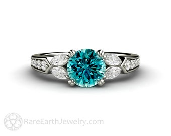 1ct Blue Diamond Engagement Ring Vintage Style Solitaire Conflict Free 14K or 18K Gold or Platinum
