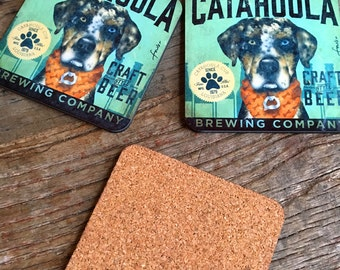 SECOND QUALITY discounted Set of 2 Catahoula brewing company dog beer coasters with cork backing