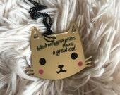 "KITTY great cat ""darling kitties"" 2017 laser cut silkscreen print necklace, plexiglass, acrylic, perspex"