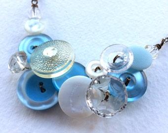 Winter Sparkle frozen blue and white Vintage Button Necklace