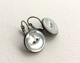 Pearly Vintage Button Earrings