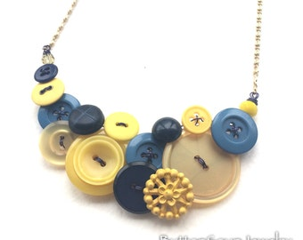 Yellow and Blue Vintage Button Necklace - One of a Kind jewelry