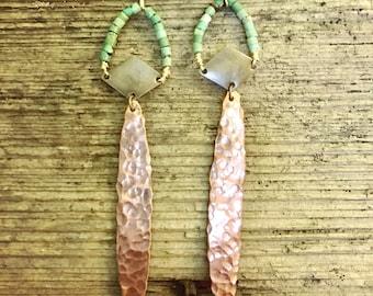 Copper turquoise dangles