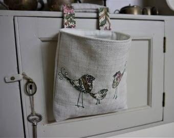 Thread Catcher -  Craft Caddy - Retro Birds Applique -  Handmade