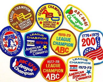 Right Up My Alley... Collection of 10 Vintage Bowling Patches Sporting Bowl Sports Memorabilia ABC League American Bowling Congress