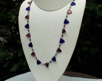 Glass LGBTQ necklace hand knotted on silk 22 3/4 inches