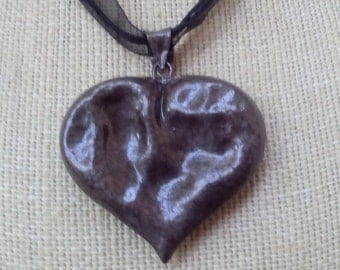 HEART Altered Art Antique Bronze Pendant Choker, Steampunk Ln433, Hammered metal, Futuristic, Post Apocalyptic, Mideivil by Lynn