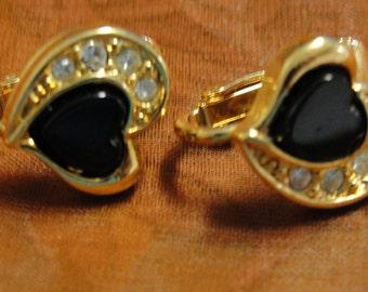 Avon Black heart Clear Rhinestone Heart Clip Earrings