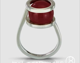 Sterling Ring with Carnelian hold by Two Rings