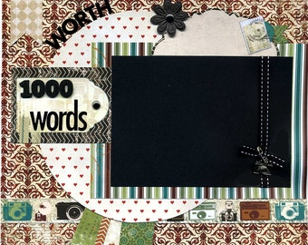 12x12 Premade Scrapbook Page - A Picture's Worth 1000 Words