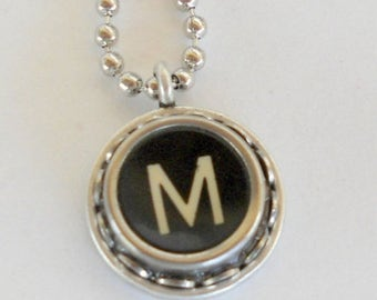 SALE Typewriter Key Necklace Vintage Initial Jewelry Monogram Typography  Name Pendant Antique