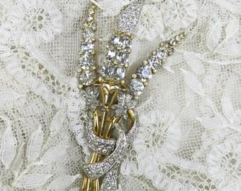 Exquisite Antique Rhinestone Brooch, Pin, HUGE ... Vintage Estate Jewelry ... Hollyhock Flower Motif,  Floral Design ... SALE