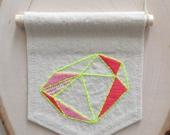 Neon Geometric Art, Abstract Embroidery, Modern Minimalist Decor, Ready To Ship, Yellow and Coral Wall Hanging, Yellow and Pink Textile Art