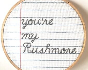 Modern embroidery. Modern cross-stitch.  Rushmore Embroidery hoop art.  Shes my Rushmore. Embroidered wall art. Fiber art.