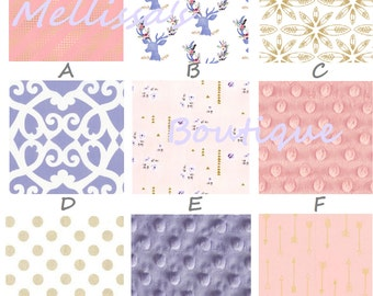 Rustic Glam Shabby Chic Deer Purple Gold & Blush Baby Nursery Crib Bedding Set made with Designer fabric CHOOSE and CUSTOMIZE