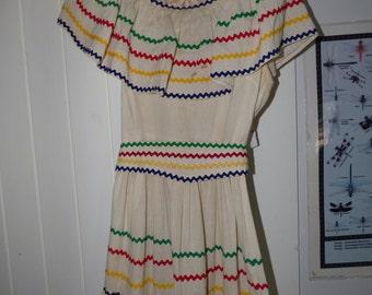 Vintage Ruffled cinco de mayo fiesta dance dress muslin with green blue red and yellow ric rac