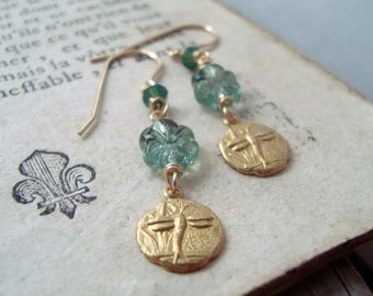 Vintage Glass and Brass Dragonfly Earrings Swarovski Crystal Insect Jewelry 14K Gold Fill Art Nouveau Gifts Under 40 Bridesmaid Jewelry