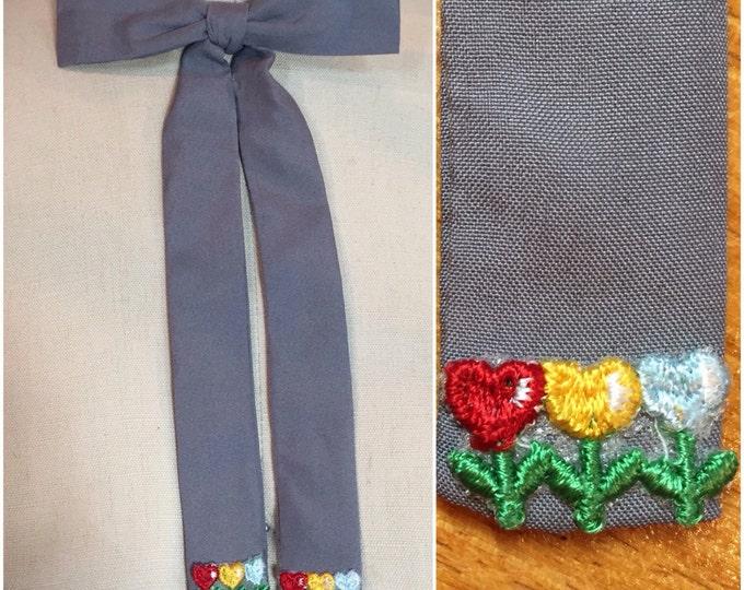 Grey Western Colonel Clip on Tie with Vintage Appliques