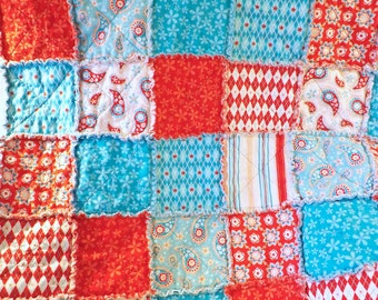 Rag Quilt - Lap Quilt - Aqua and Red - Paisley Flowers Stripes - Wedding - Gift For Her