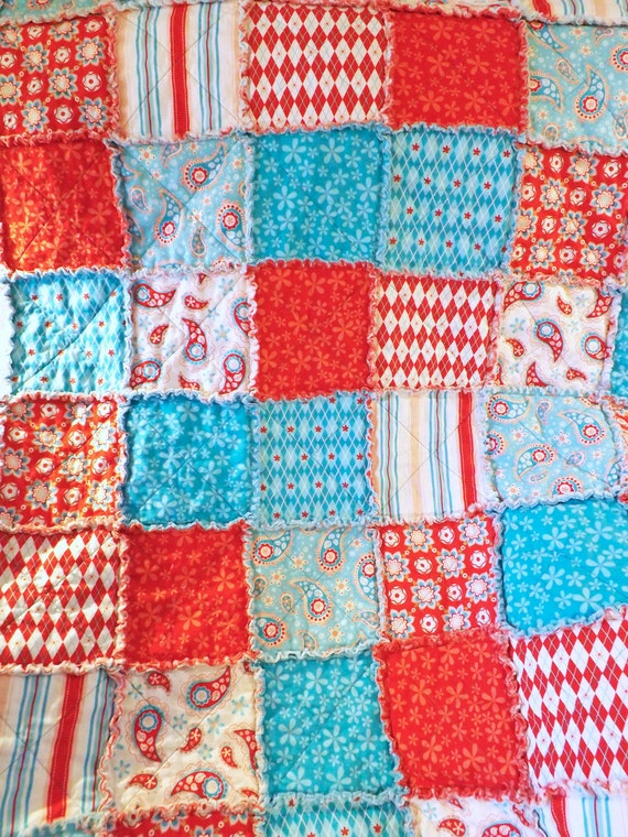 Rag Quilt - Lap Quilt - Aqua and Red - Paisley Flowers Stripes - Gift For Her
