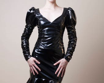 Black PVC Top with Long Ruched Sleeves-Small (Sale)