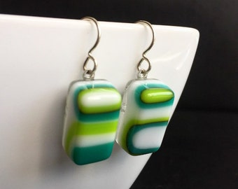 Abstract Teal, Lime and White Fused Glass Earrings. Modern Earrings. Funky Earrings. Geometric Jewelry. Handcut and Designed in Texas.