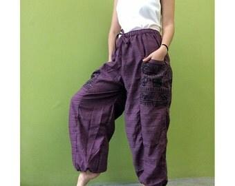 Hippie Gypsy Ohm Cotton Patchwork Pockets Unisex Long Aladdin Yoga  Pants  (OH 1)