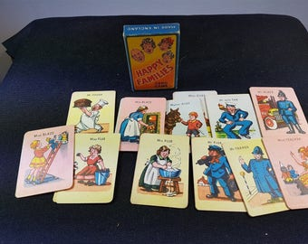 Vintage Happy Families Playing Cards in Original Box 1950's