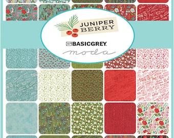 "SQ69 Moda JUNIPER BERRY Precut 5"" Charm Pack Fabric Quilting Cotton Squares Basic Grey 30430PP"