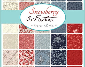 "SQ47 Moda SNOWBERRY Precut 5"" Charm Pack Fabric Quilting Cotton Squares 3 Sisters 44140PP"