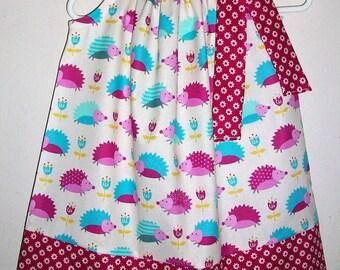 Girls Hedgehog Dress Pillowcase Dress with Hedgehogs Forest Animals baby dress toddler dress Woodland Animals Hedgehog Party Spring Dress