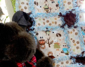 Handmade Rag Quilt ~Baby~ Nursery~ FOREST FRIENDS