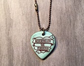 Nevertheless She Persisted Ceramic Necklace in Celedon and Pewter Glaze