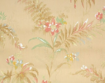 1920's Vintage Wallpaper - Antique Wallpaper Pink Flowers and Tan Ferns