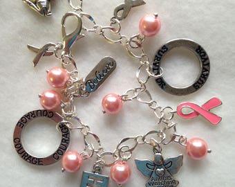 Breast Cancer Charm Bracelet. Cancer Survivor. Pink Ribbon Cancer Charm Bracelet  BC 04