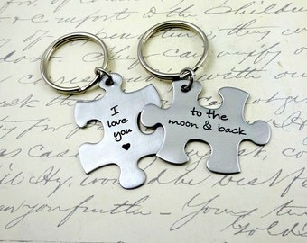 Puzzle Piece Love You to Moon & Back Couples Keychain or Necklace  Set - Fiance BFF Boyfriend Husband  Fathers Day Valentine's Day