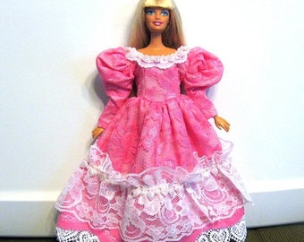 ON SALE Barbie Dress Bright Pink and White Lace