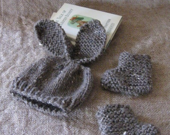 Woodland Bunny Set/Bunny Hat and Booties/Chocolate Brown Tweed/Photo Prop/Easter/Floppy-Ear Bunny Hat/Knitted/Newborn/0-3 Months/3-6 Months
