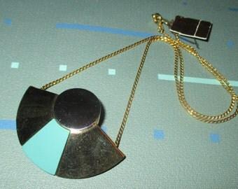 Vintage MOD 70s Geometric Mixed Metal and Aqua Enamel Necklace Signed Biagi