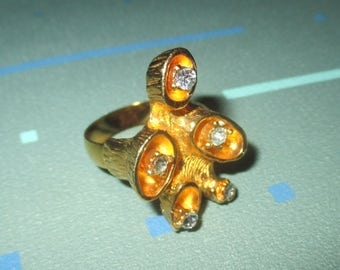 Vintage MOD 60s Organic Abstract Gold Tone and Rhinestone Statement Adjustable Ring