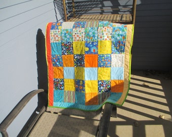 Bright Baby Quilt for a Boy or Girl Alphabet Patchwork sewn by Karen Brauer