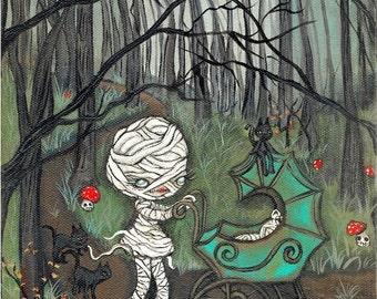 Mummy Print Cute Halloween Wall Art 8 x 10 Mom Baby Art Cats