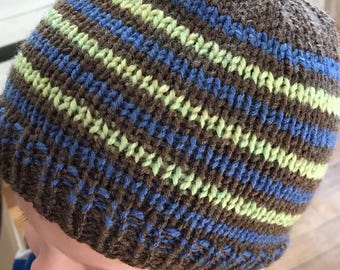 Boys Beanie Hat Brown Blue and Green Stripes 2-3 years