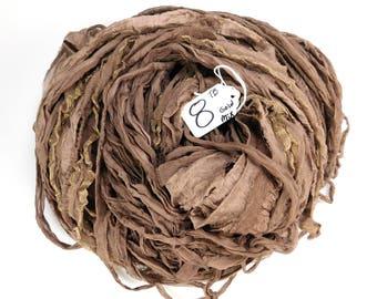 CHIFFON sari ribbon, Recycled Silk Chiffon Sari Ribbon, silk chiffon ribbon, Taupe sari ribbon, tassel supply, knitting supply