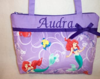 Little Mermaid purse Disney fabric handmade Boutique Girls Toddler Tiny tote handbag girls youth add a name great birthday party favors