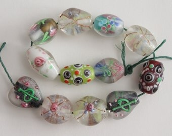 Lampwork glass mixed oval barrel and heart beads 15-20mm (12)