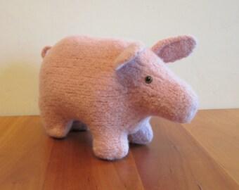 Plush Pig Stuffed Animal, Pink Wool Pig, Barnyard Farm Animals. Handknit Felted Animals by Felted Friends