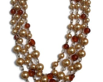 Vintage Faux Pearl Four Strand Necklace Cream Amber